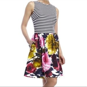 Just Taylor Stripe Floral Fit and Flare Dress